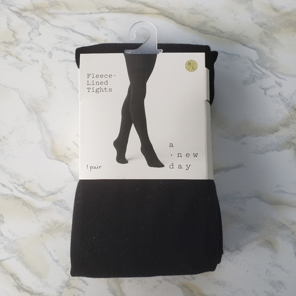 Fleece Lined Tights Flat Knit Black Medium Large